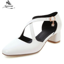 Sgesvier White Bride Wedding Shoes Summer Yellow Black Party Chunky String Bead Block Heels Cross Strap Women Sandals G353