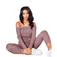 Off Shoulder Casual Jumpsuits Women Overalls Autumn Long Sleeve Knitted hole Rompers Womens Jumpsuit