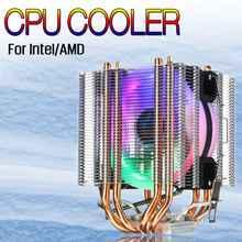 90 мм 4 теплотрубки Процессор кулер двойная башня 4Pin RGB светодиодный вентилятор охлаждения радиатора для Intel 775/1150/1151/1155/1156/1366 для AMD