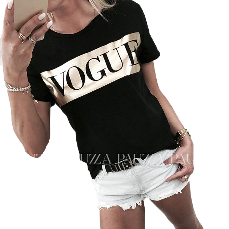 Summer Womens Tops and   blouses   Short Sleeve Vogue Slogan shining basic Tee   shirt   femme harajuku arrival brand dames kleding