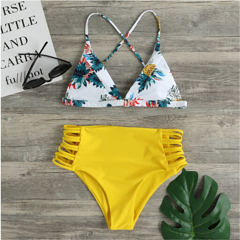 Trendy Women Clothes Polyester Casual Summer Floral Beach Bikini Set Ladies Sexy Holiday Swimwear Pool Swimsuit