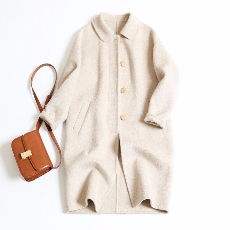 Kadın Giyim'ten Yün ve Karışımları'de Moda uzun tek göğüslü Yün Ceket Kadın Kış ceket gevşek 2019 sonbahar ve kış 4 renkler S, M, L'da  Grup 1