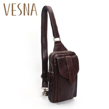 Vesna Chest Bag 2019 Fashion Genuine Leather Crossbody Bags Men Casual Messenger Bag Small Brand Designer Male Shoulder Bag цена в Москве и Питере