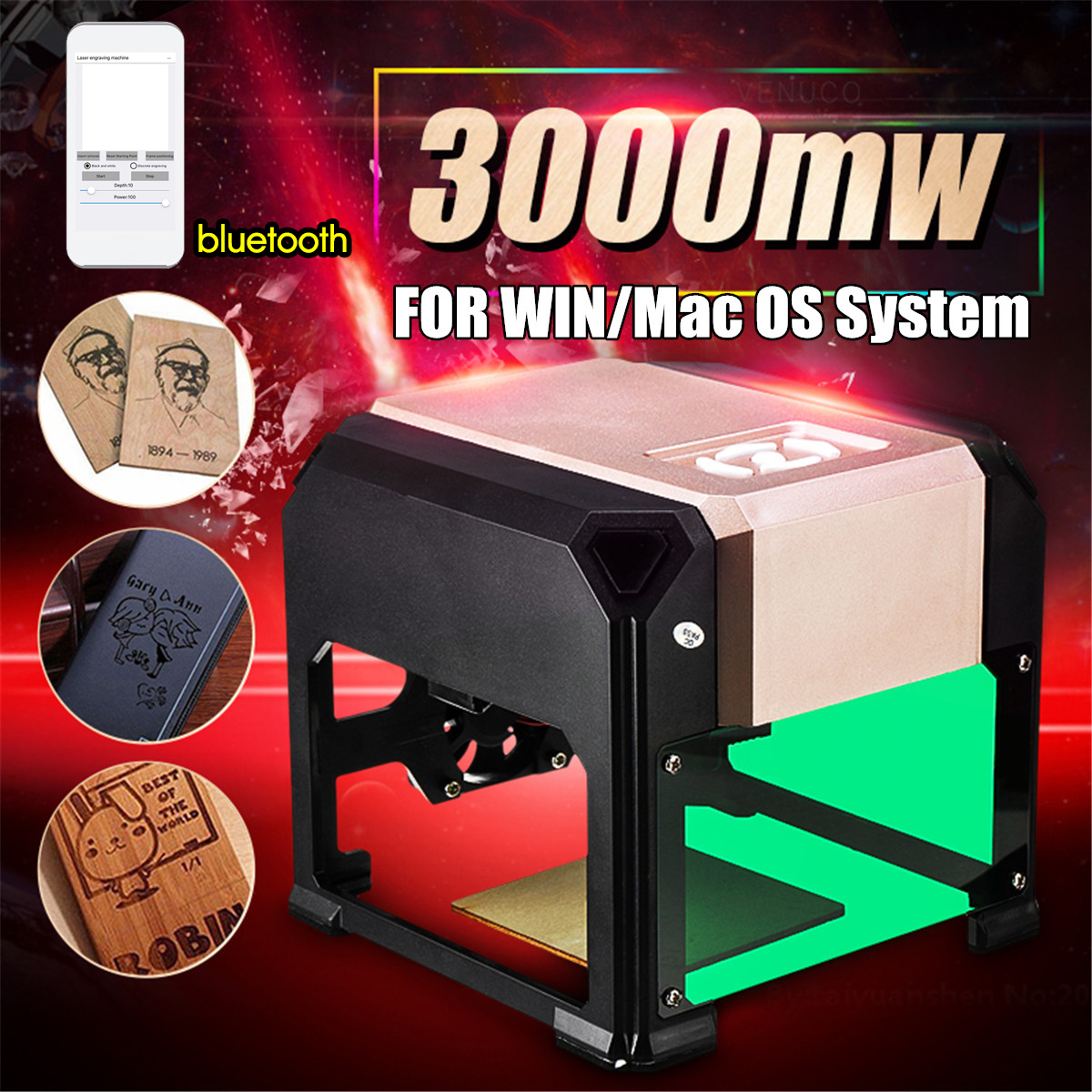 WOLIKE Upgrade Bluetooth Mini 3000MW Golden CNC Laser Engraving Machine AC 110-220V