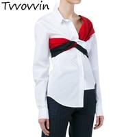 TVVOVVIN 2019 Bnadage Tunic Tops White Asymmetry Women's Blouses Shirts Long Sleeve Feminine Blouse Casual Clothes Korean E052