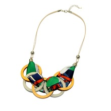 2019 Fashion Bohemian Round Wood Fabric Pendant Necklace Jewellery for Women Korean Style Statement Chunky Blue Free Shipping