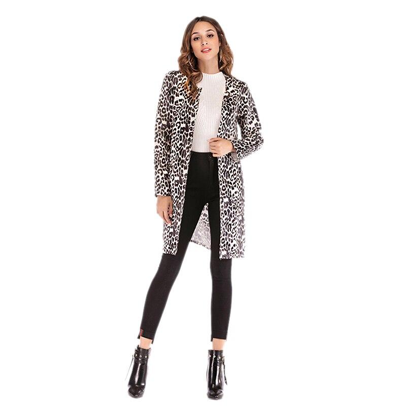 Casual Manga Larga Sexy La Print Encabeza Outwear De Trench Chaqueta Abrigo Del Leopard Leopardo Coats Impresión Moda Señoras Mujer 5zqvnwfRR