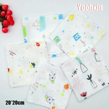 20CM Mini Cotton White Printed Cartoon Women Square Handkerchief Dinner Children Towel Party Christmas Gift 12pcs/lot