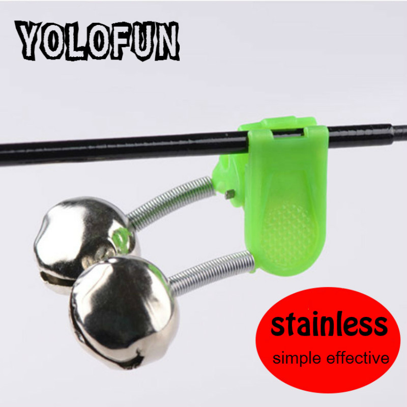 5pcs /lot Stainless Bite Alarms Fishing Bell Fishing Accessory Alert Clip On Rod Carp Ring Green ABS Outdoor Metal