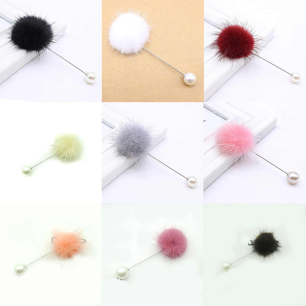 2019 New Brooches Puffer Ball Charms Simulated Pearl Brooch Fur Soft Ball Piercing Lapel Brooch Collars Lady Hot Jewelry Gifts