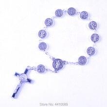 St Benedict десятилетие четки мм 10 мм сплав круглые плоские бусины