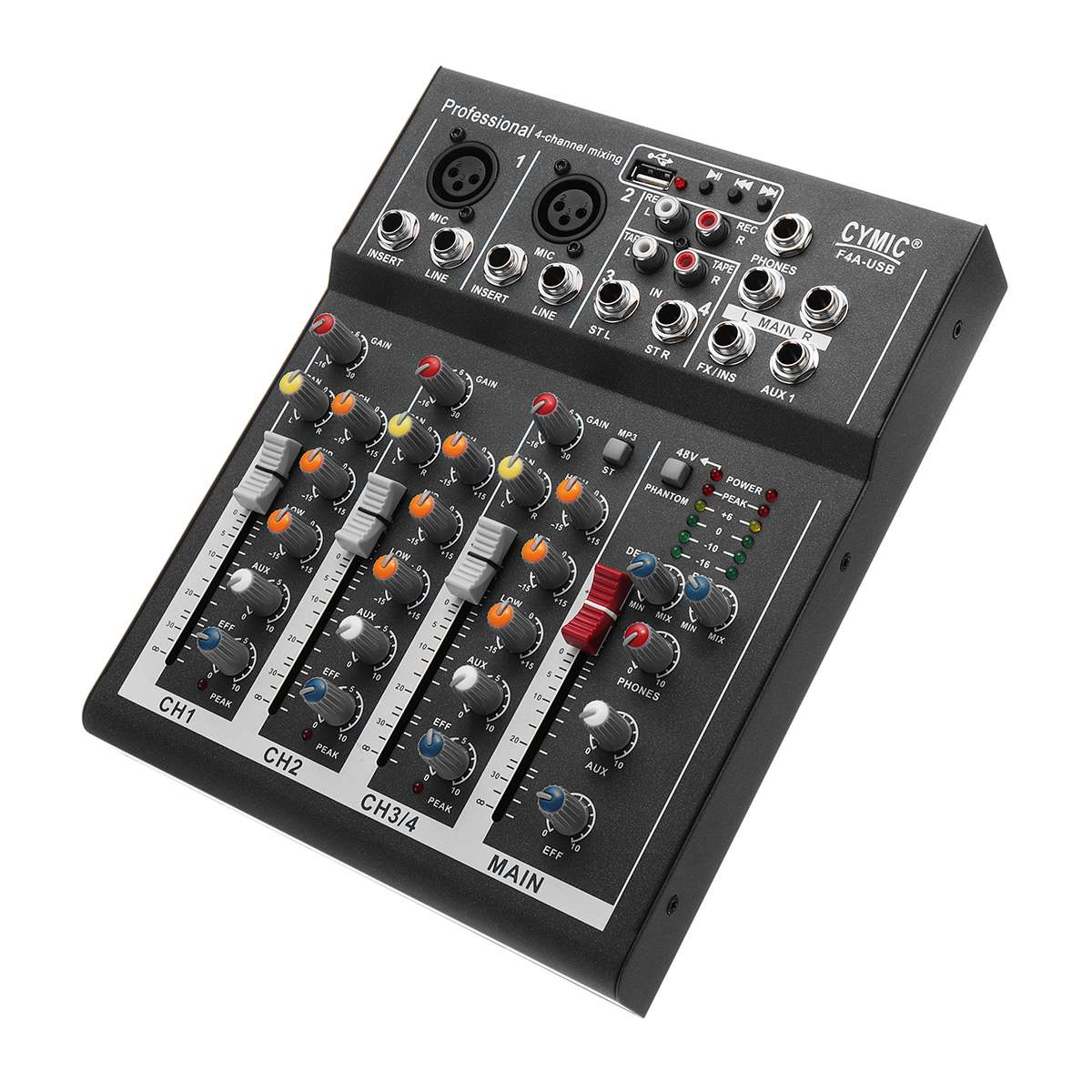 LEORY Black 4 Channels Audio Sound Mixing DJ Equipment DJ Audio Mixer Console With USB MP3 Jack Live For Karaoke KTV SpeechLEORY Black 4 Channels Audio Sound Mixing DJ Equipment DJ Audio Mixer Console With USB MP3 Jack Live For Karaoke KTV Speech