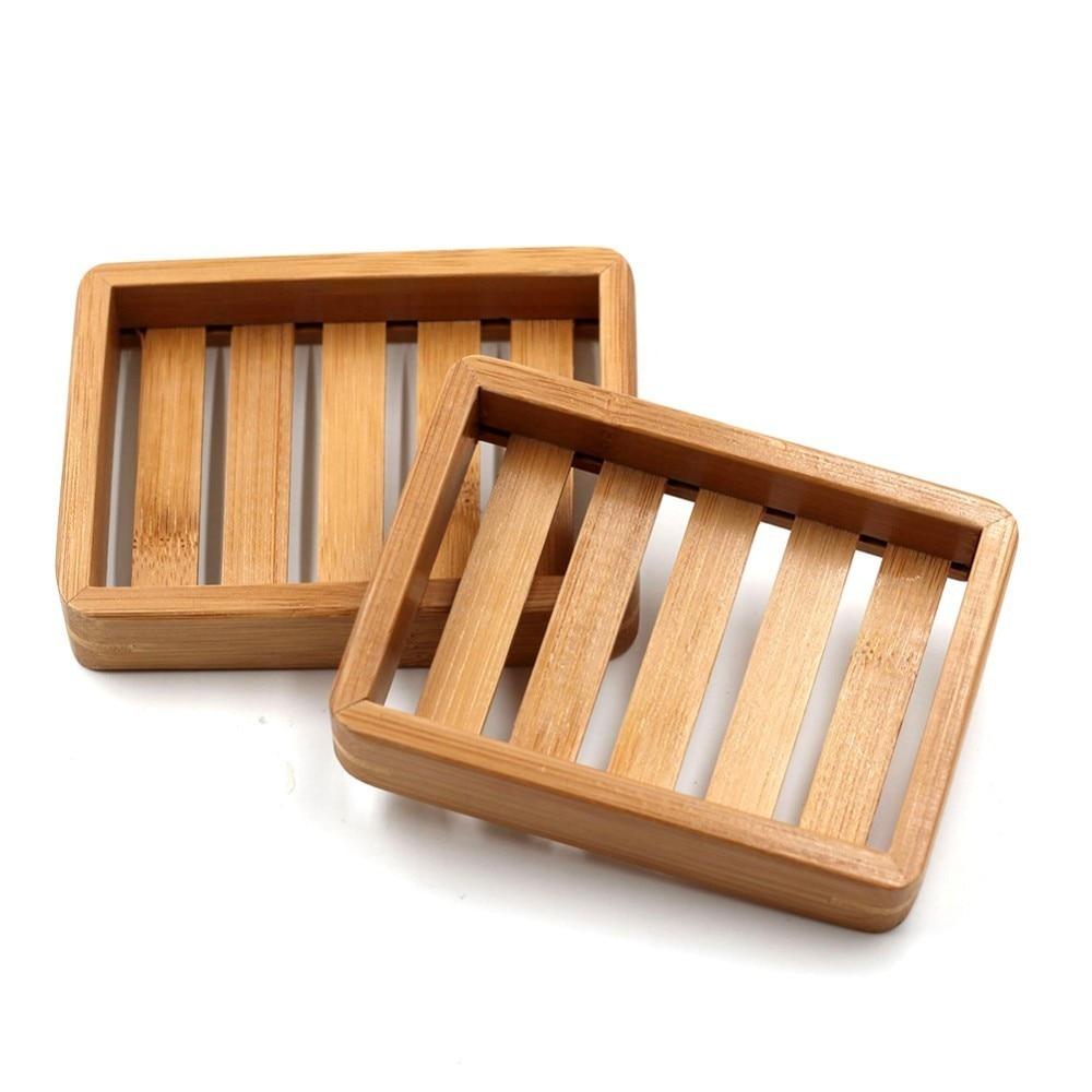 1Pcs Portable Soap Dishes Creative Simple Bamboo Manual Drain Soap Box Bathroom Bathroom Japanese Style Soap Soap Box