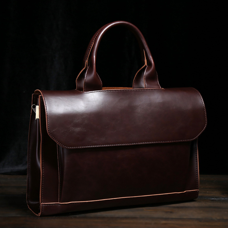 Original Brand Design Crazy Horse PU Leather Men Handbag Korean Fashion Shoulder Crossbody Bag Vintage Business Briefcase