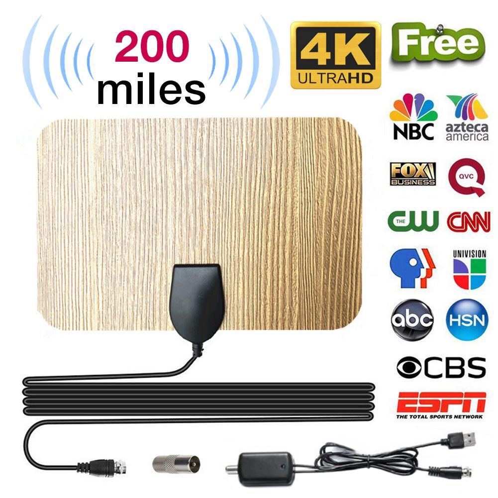 200 Mile For Antena Digital Hd Wood Grain Indoor Tv