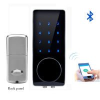 Silver Zinc Alloy Home Smart Bluetooth Electronic Press Screen Code Password Lock Deadbolt Door Lock Unlock By App Code Key