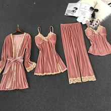 Ekouaer femmes 4 pièces velours pyjamas ensembles Sexy chemise de nuit Kimono Robe douce dentelle florale vêtements de nuit Kit Robe chemise de nuit