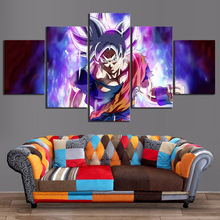 5 Piece Ultra Instinct Goku Pictures Dragon Ball Super Cartoon Movie Poster Animation Art Canvas Paintings for Home Decor