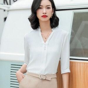 Image 4 - אופנה חולצה נשים חצי שרוול מקרית עבודה אלגנטי V צוואר עסקי ראיון רשמי שיפון החולצה משרד ליידי בתוספת גודל חולצות
