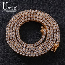 Uwin 100% 925 Sterling color 3mm Tennis Chains Cubic Zirconia 1 Row Luxury CZ Iced Out Hip hop Necklace Gift