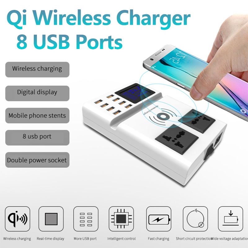 Qi Wireless Charger Pad 8 Ports USB Dual AC Smart Charger with Led Display EU Plug Power ChargerQi Wireless Charger Pad 8 Ports USB Dual AC Smart Charger with Led Display EU Plug Power Charger