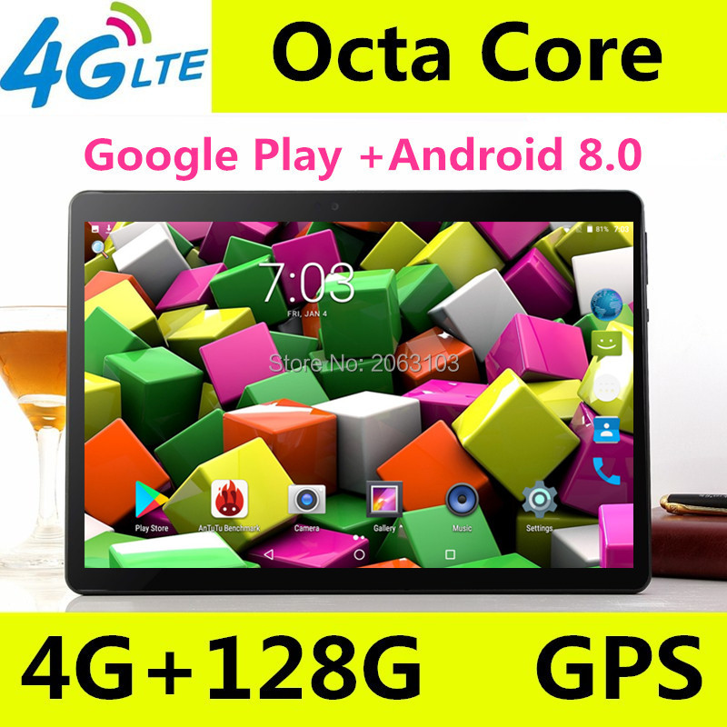 10 Inch Android Tablet 4GB RAM 128GB ROM Google Android 8.0 OS Dual Camera WiFi 1920*1200 IPS 3G 4G FDD LTE GPS Tablet 10