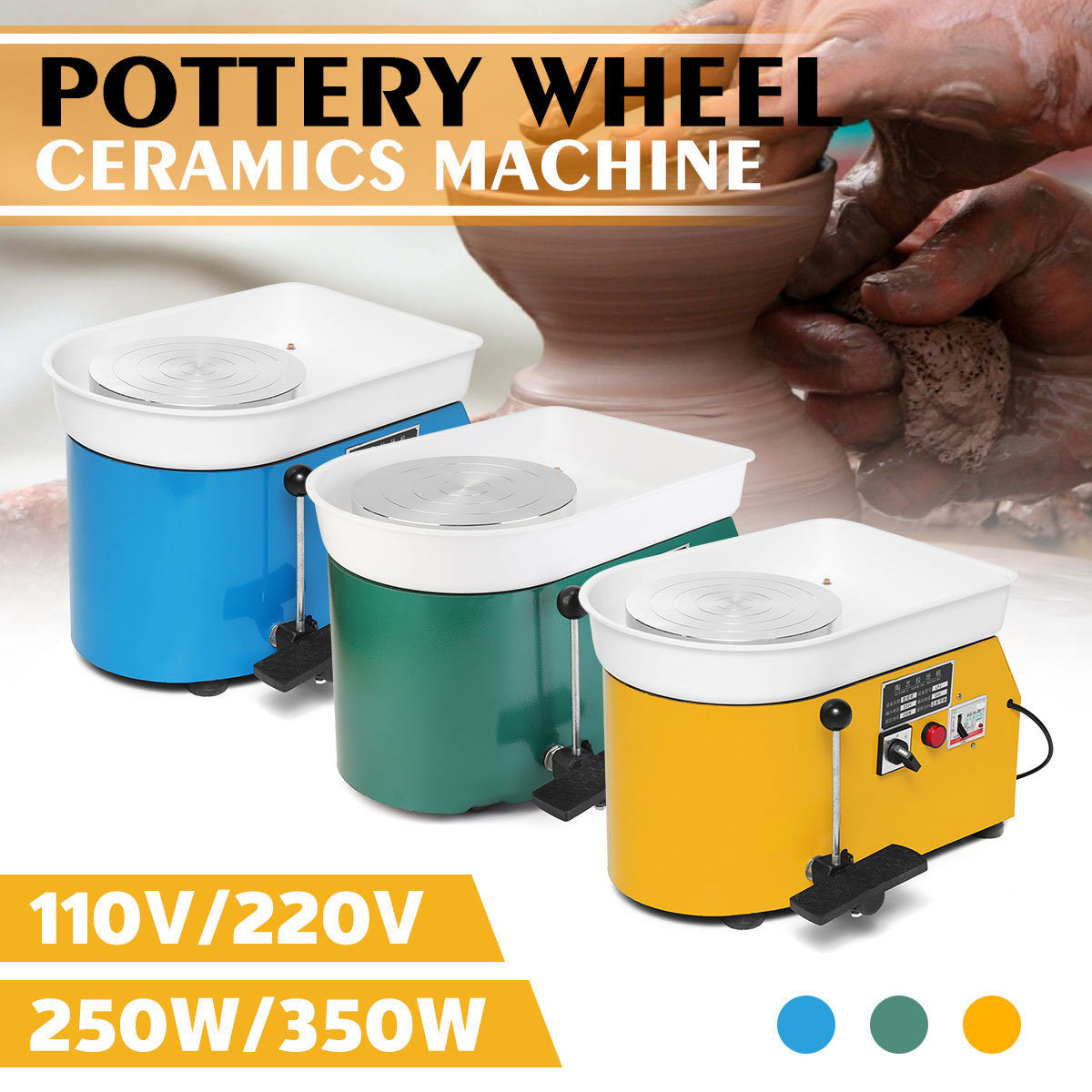 110V/220V Pottery Forming Machine 250W/350W Electric Pottery Ceramics Wheel DIY Clay Tool With Tray For Ceramic Work 3 Colors