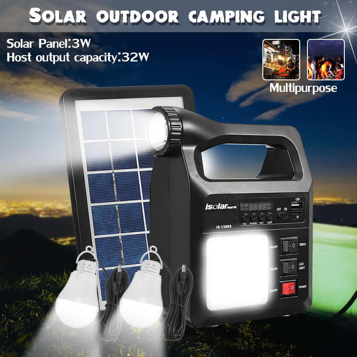 4V 8000mAh Solar Generator System +3W Waterproof Solar Panel +2*LED Lamp Bulb Multifunction Generator For Outdoor Camping sennheiser hd 201 black 500155