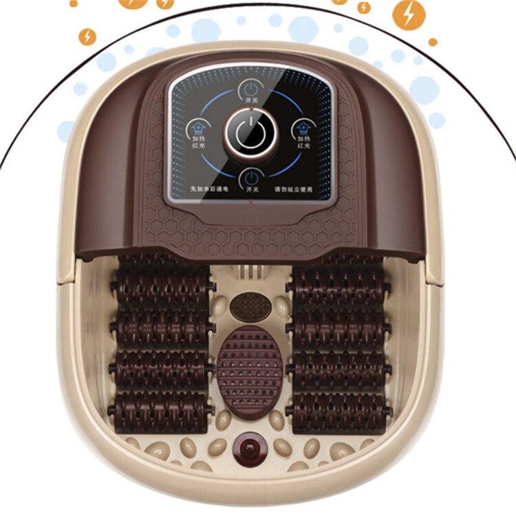 Santé pied baignoire chauffage manuel Massage pied bain 12 roues Massage seau poignée Portable pieds SPA baril pieds-bassin massant