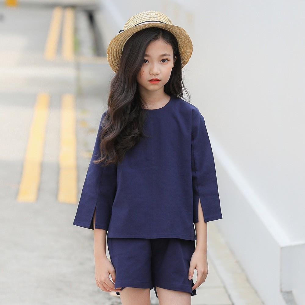 Spring Summer Outfits For Girls Kids Fashion Girl Clothing Sets 2pcs Long Sleeve Shirt + Shorts Cotton Teenage Girl Clothes girl