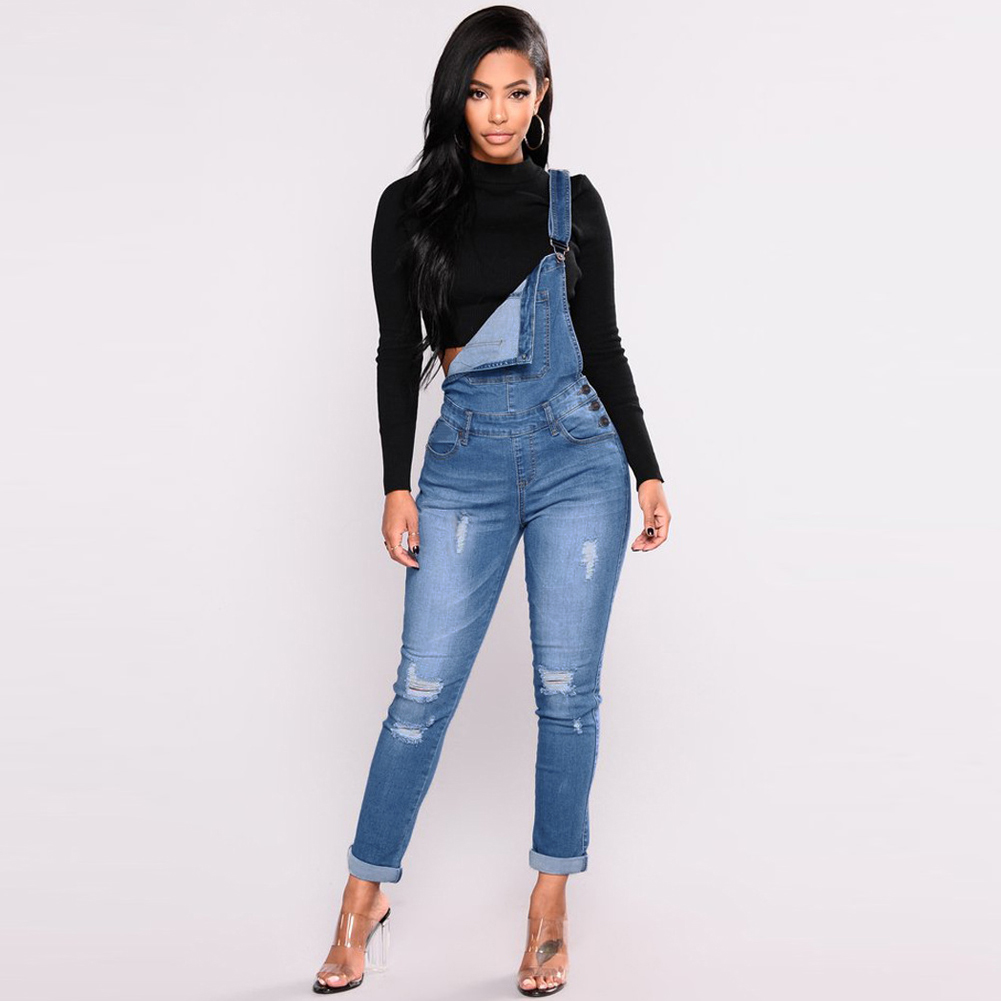 2019 New Women Denim Overalls Ripped Stretch Dungarees High Waist Long Jeans Pencil Pants Rompers Jumpsuit Blue Jeans Playsuit 3
