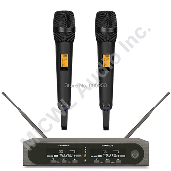 Pro SKM9000 2 Champagne Gold or 2 Black Wireless Handheld Microphone System Stage Performance Singing Headset LavalierMic System