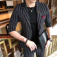 2019 New Pattern Male Sleeve Mans Suit Plus 7 Part Pants Youth Self-cultivation Stripe Twinset Fashion Best Thin Black Striped