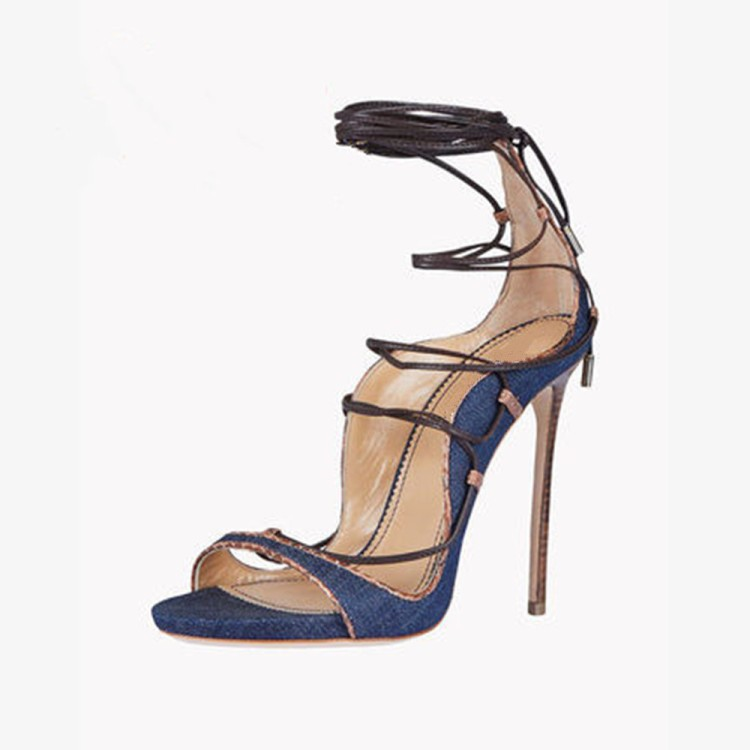 2019 Newest Blue Denim Strappy Sandals Lace-up Cut-out Gladiator Sandals Women Peep Toe Jeans Summer Dress Shoes High Heels