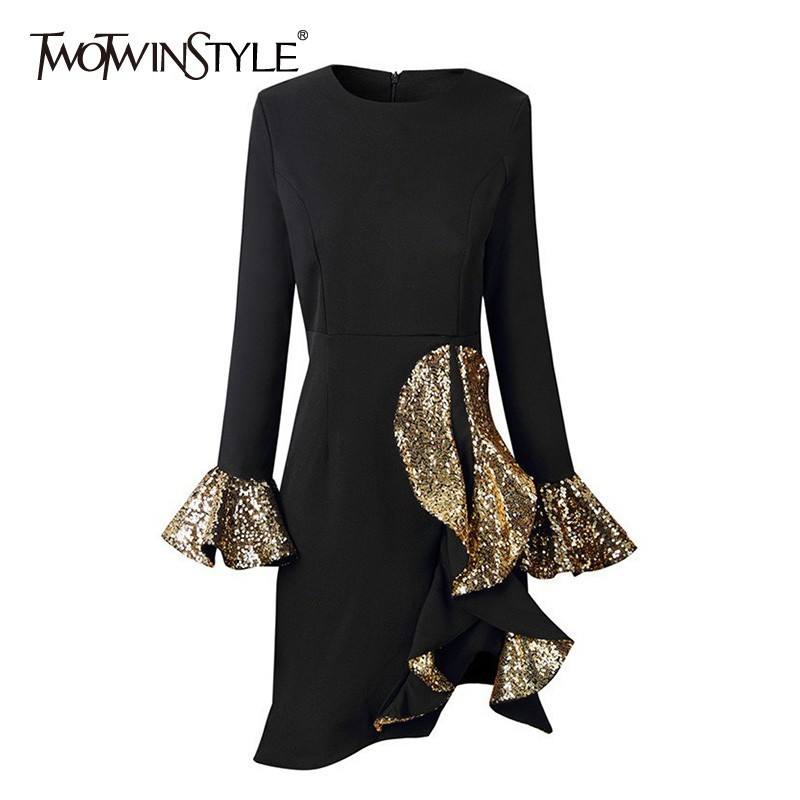 TWOTWINSTYLE Patchwork Sequins Ruffles Dress Female O Neck Flare Sleeve Hem Irregular Slim Women's Dresses Elegant Clothes New