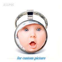 2019 DIY Handmade Personalized Custom Keychains Rings Baby Family Member Photo Keyrings Chain Ring Holder Party Gifts(China)