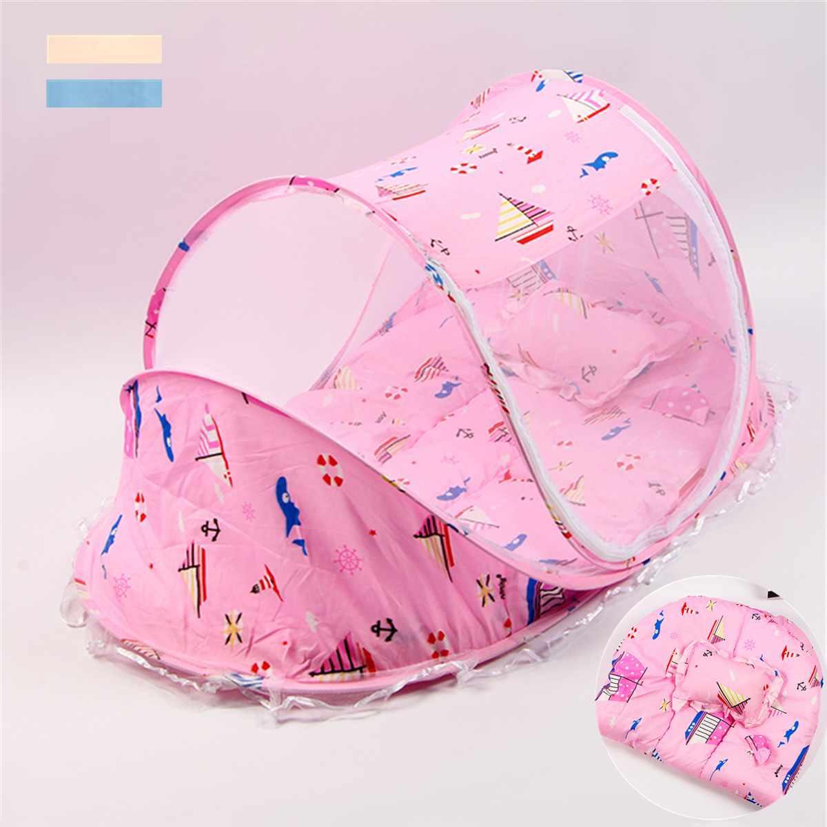 3 Stks/set Baby Crib Sets Klamboe Draagbare Vouwen Soort Baby Pad Beddengoed Baby Insect Netting Kussen Matras Baby Kussen