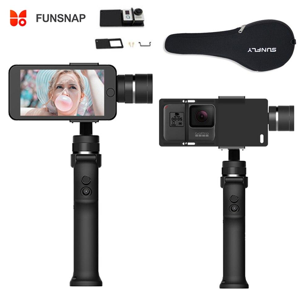 Funsnap Capture 3 axes stabilisateur de cardan de téléphone portable pour iPhone X 8 7 Plus Samsung S8 Piexl Gopro Hero 7 6 5 Yi Sjam EKEN H9