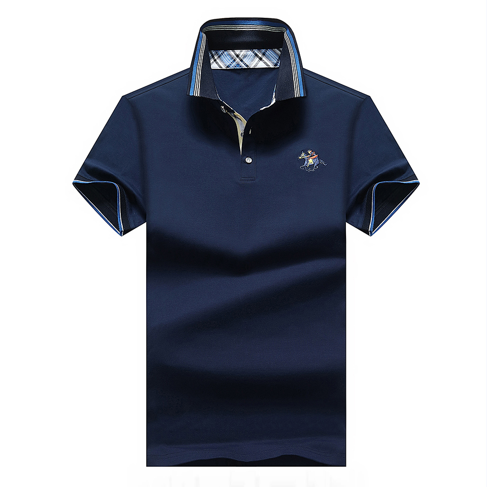 4XL Men Summer Smart Casual Cotton Short Sleeve   Polo   Shirts Men Brand New Slim Fit Elastic Embroidery Solid   Polos   Top&Tee Men