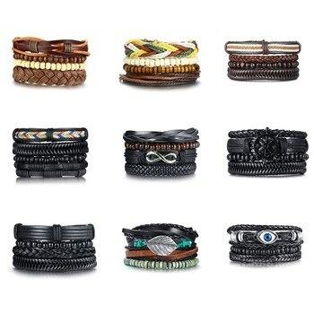 Vnox Mix Wrap Leather Bracelets for Men Women Vintage Wooden Beads Ethnic Tribal Wristbands 2