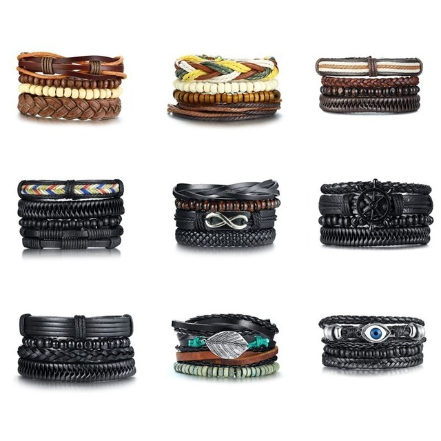 4Pcs/ Set Braided Wrap Leather Bracelets 2