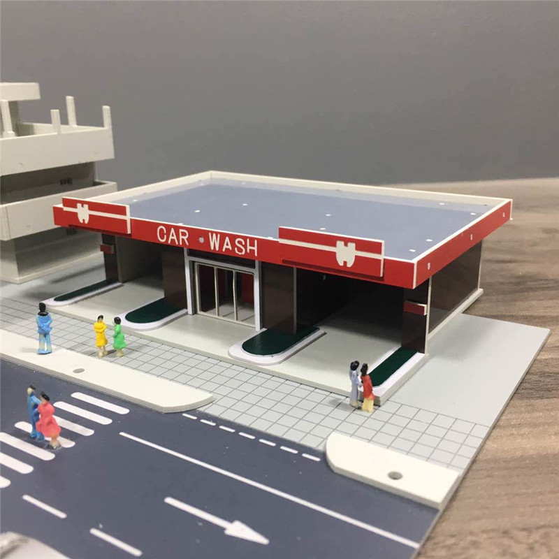 3D Gas Station Constructor Model Kit Blocks Compatible Toys For Boys Girls Children Modeling DIY Assembling Models