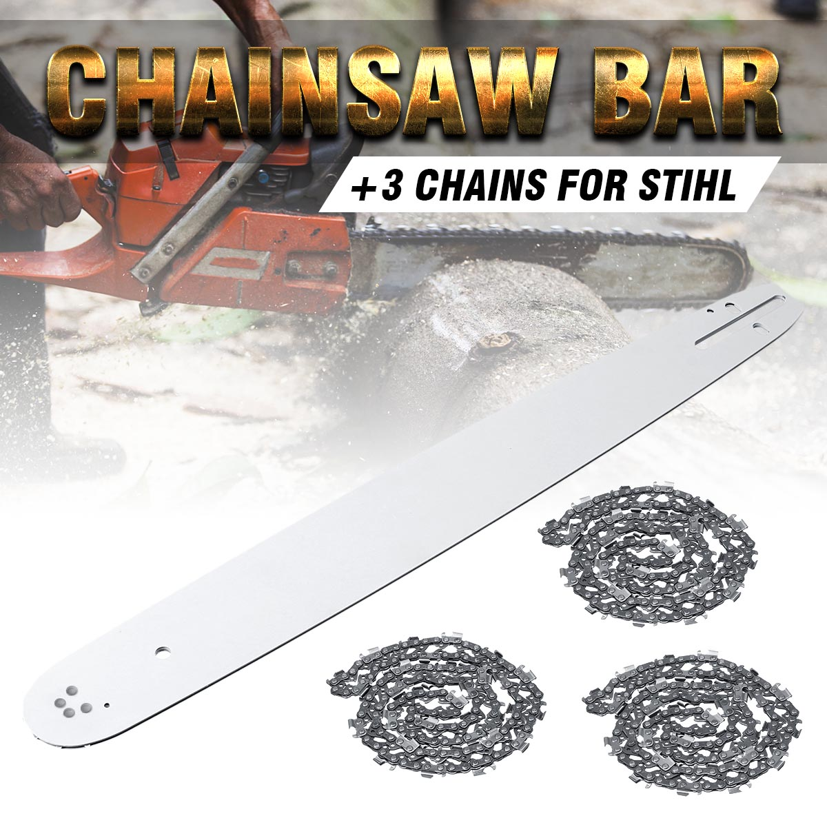 20 Inch Chainsaw Guide Bar with 3pcs Saw Chain 3/8 72DL .63 For STIHL MS290 MS291-310-340-360-380-391-440 Accessories20 Inch Chainsaw Guide Bar with 3pcs Saw Chain 3/8 72DL .63 For STIHL MS290 MS291-310-340-360-380-391-440 Accessories