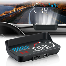цена на Car HUD Head-Up Display OBD2 Speed Warning RPM Water temperature Voltage Fuel consumption Over speed alarm