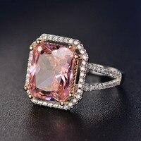 Очаровательные розовые кварцевые обручальные кольца женские ювелирные изделия из стерлингового серебра 925 пробы кольцо романтическое с др...