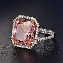 السحر الوردي الكوارتز خواتم الزفاف المرأة 925 فضة خاتم مجوهرات رومانسية الأحجار الكريمة المشاركة الذكرى هدايا الحفلات