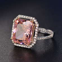 Charms Pink Quartz Wedding Rings Womens 925 Sterling Silver Jewelry Ring Romantic Gemstone Engagement Anniversary Party Gifts
