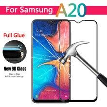 Vidrio templado con pegamento total curvo 9D para Samsung Galaxy A20e, A20, A205F, protector de pantalla para Samsung A 20 e, película protectora Glas 9h