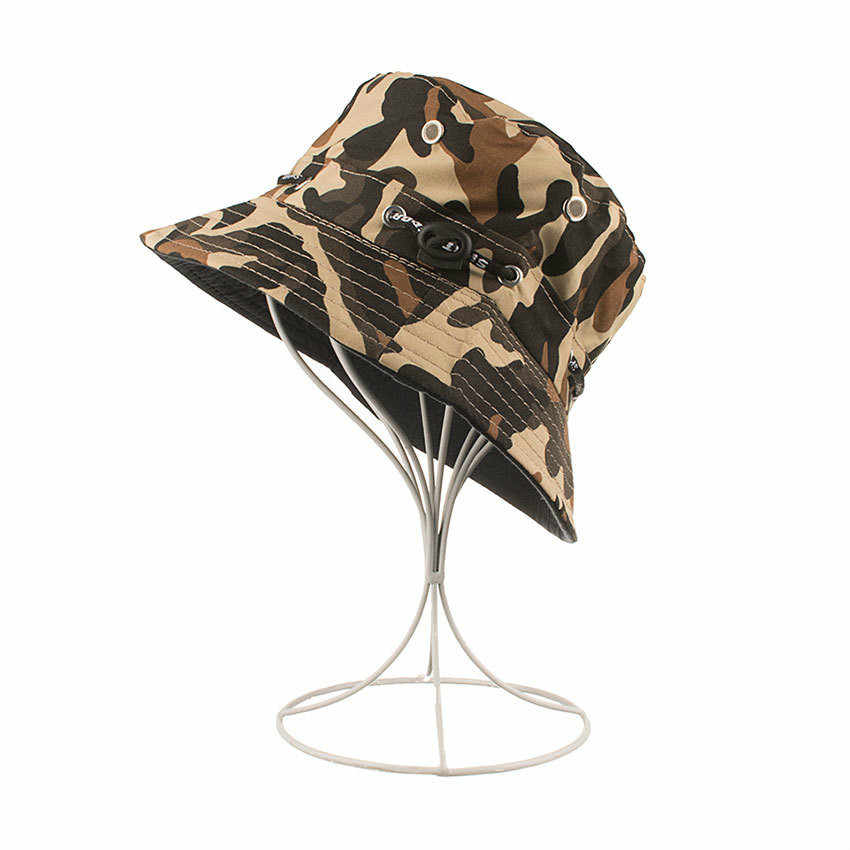 Womens Printed Flat Bucket Cap Unisex Summer Beach Safari Sun Hat Outdoor Windproof Fisherman Caps
