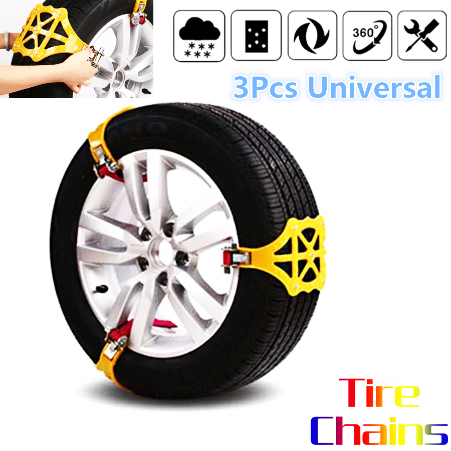 3pcs/set Universal Car Tire Snow Chains Beef Tendon Manganese Steel Nails Thickened Emergency Anti-skid Wheel Tyre Tire Chains image